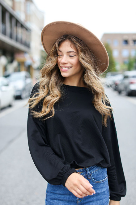 Black - Oversized Balloon Sleeve Top from Dress Up