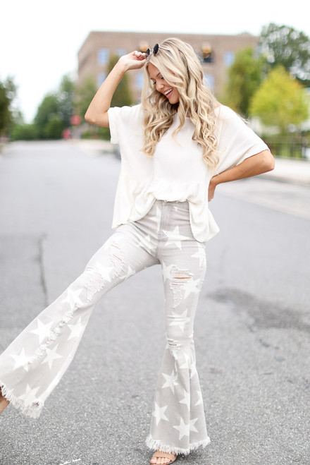 Grey - Distressed Star Flare Jeans