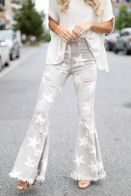 Grey - Distressed Star Flare Jeans from Dress Up