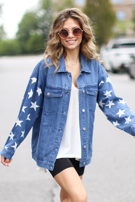 Medium Wash - Oversized Star Denim Jacket