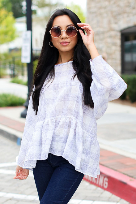 White - Plaid Babydoll Top