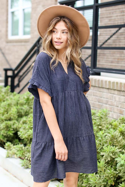 Navy - Tiered Babydoll Dress