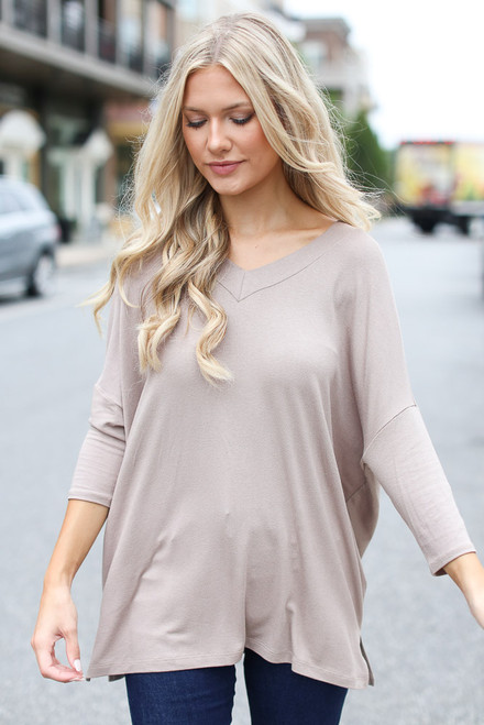 Mocha - Model wearing an Oversized Top