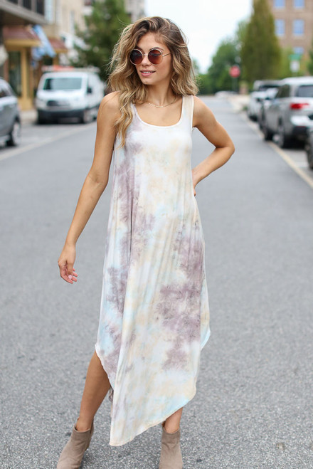 Taupe - Tie-Dye Maxi Dress