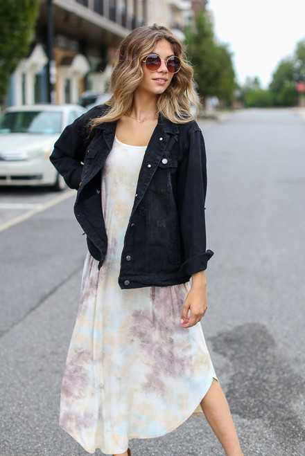 Taupe - Tie-Dye Maxi Dress from Dress Up