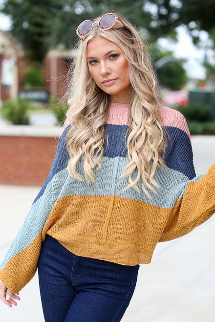 Multi - Oversized Striped Sweater