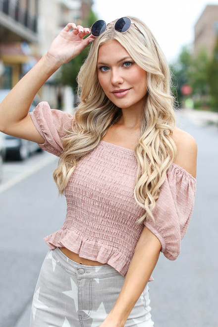 Blush - Smocked Puff Sleeve Top from Dress Up