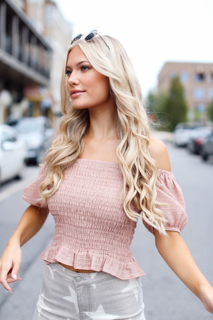 Blush - Smocked Puff Sleeve Top