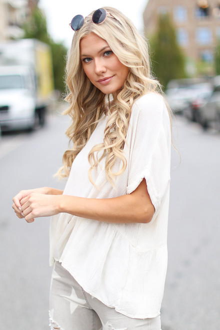 Ivory - Oversized Peplum Top from Dress Up