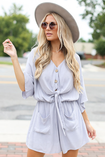 Lilac - Cute Tie-Front Romper