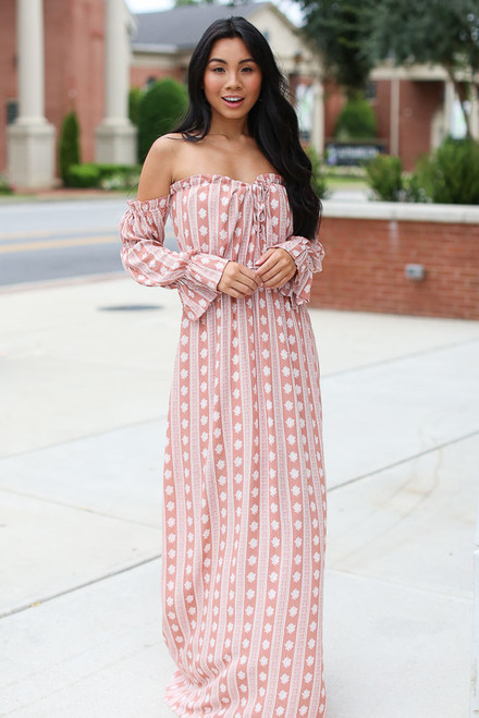 Mauve - Striped Maxi Dress from Dress Up