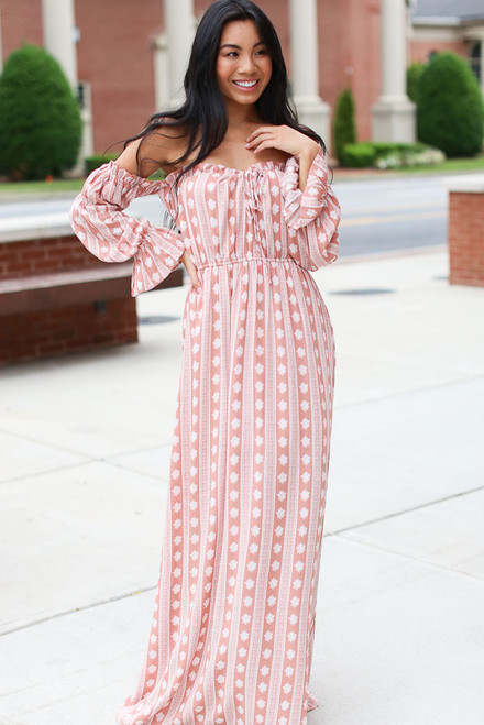 Mauve - Striped Maxi Dress