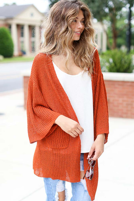 Rust - Lightweight Knit Cardigan from Dress Up