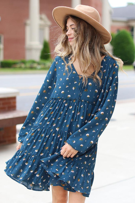 Teal - Tiered Floral Dress