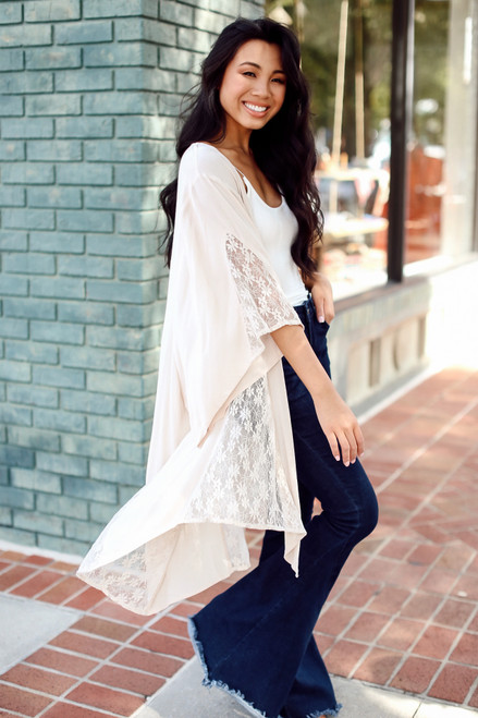 Natural - Floral Lace Kimono from Dress Up