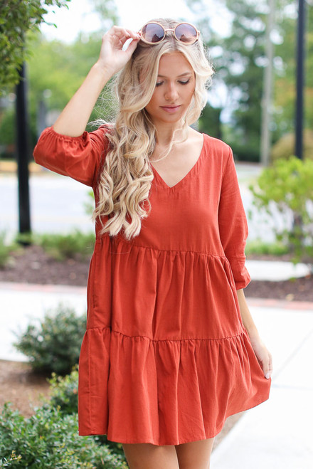 Rust - Tiered Babydoll Dress from Dress Up