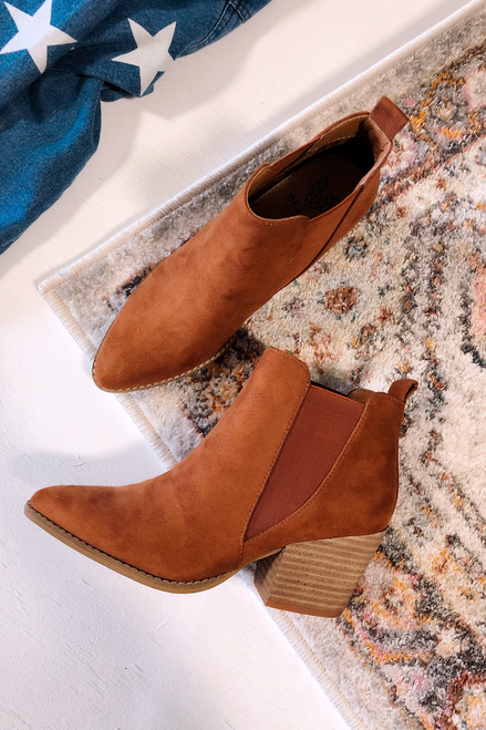 Cognac - Microsuede Block Heel Booties from Dress Up