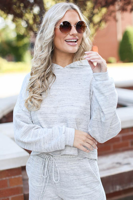 Heather Grey - Cropped Hoodie