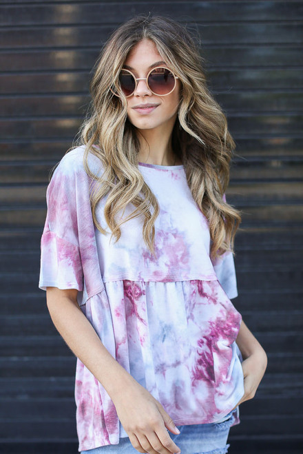 Wine - Tie-Dye Babydoll Top from Dress Up