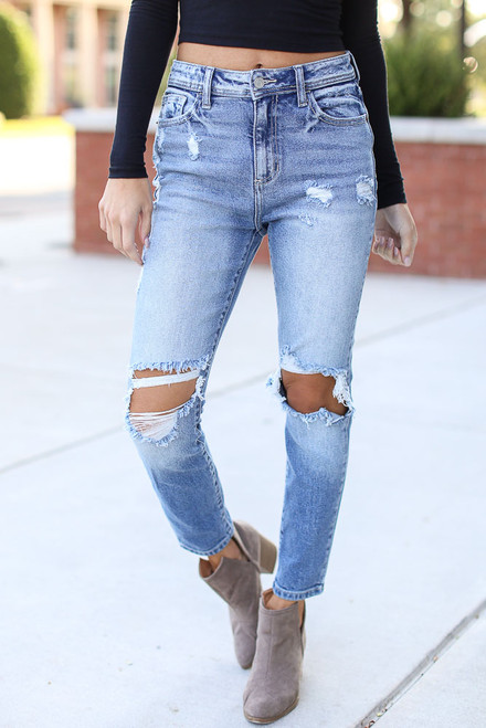 Medium Wash - Distressed Mom Jeans
