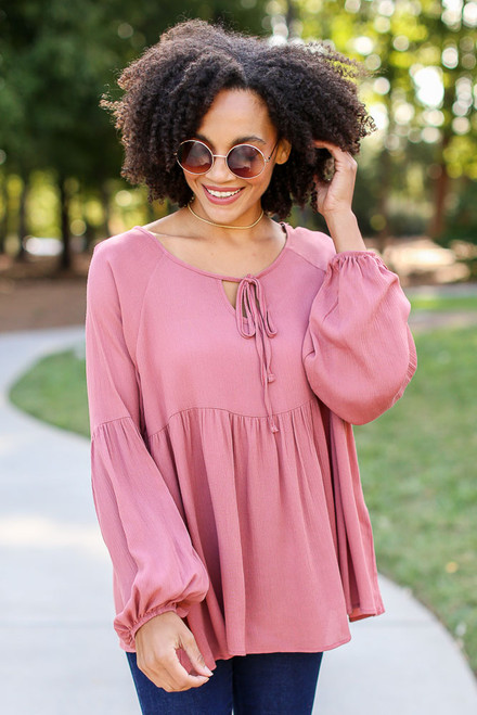 Mauve - Oversized Babydoll Blouse from Dress Up