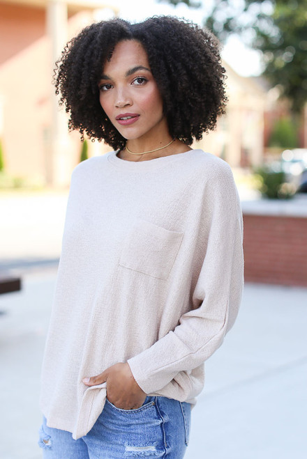 Taupe - Textured Oversized Top
