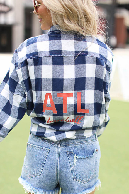 Navy - Chelsea ATL Baseball Flannel Back View