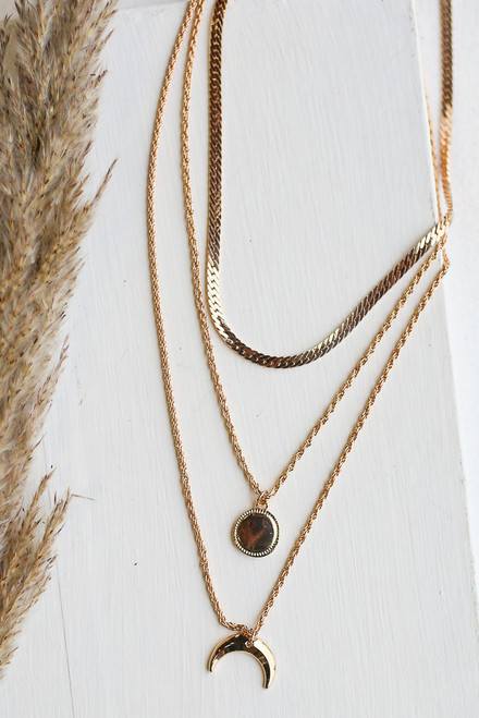 Gold - Crescent Horn Layered Necklace