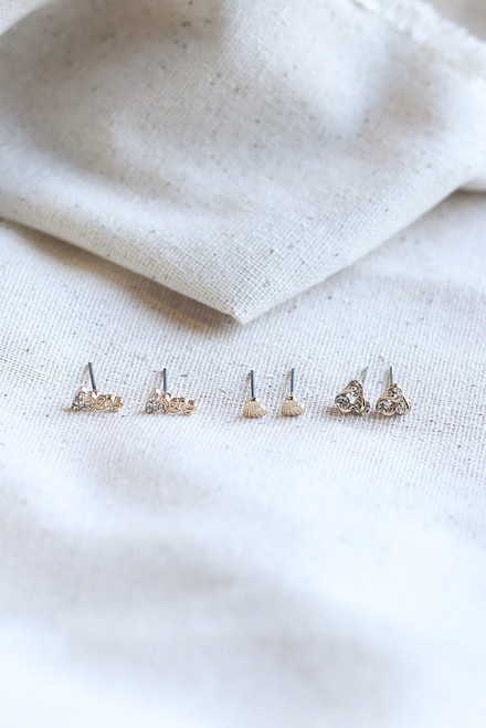 Gold - Stud Earring Set