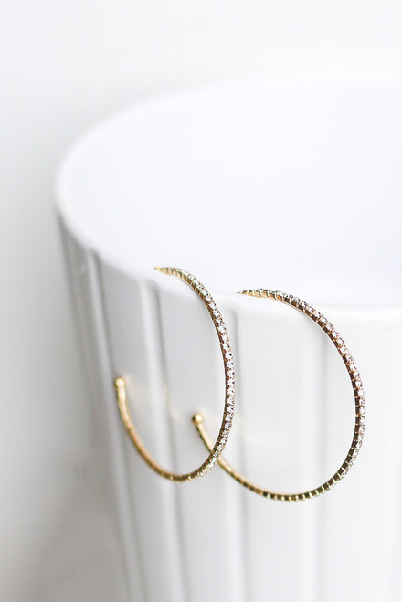 Gold - Rhinestone Chain Hoop Earrings