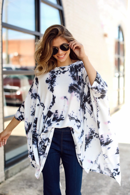 Purple - Oversized Tie-Dye Top