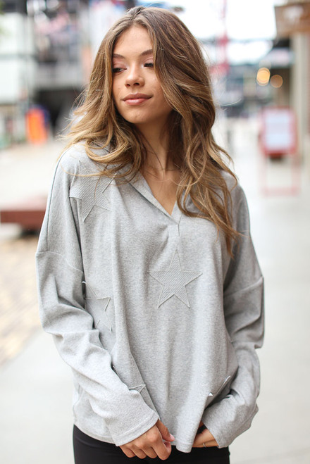 Heather Grey - Oversized Star Hoodie