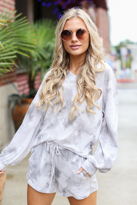 Grey - Oversized Tie-Dye Top