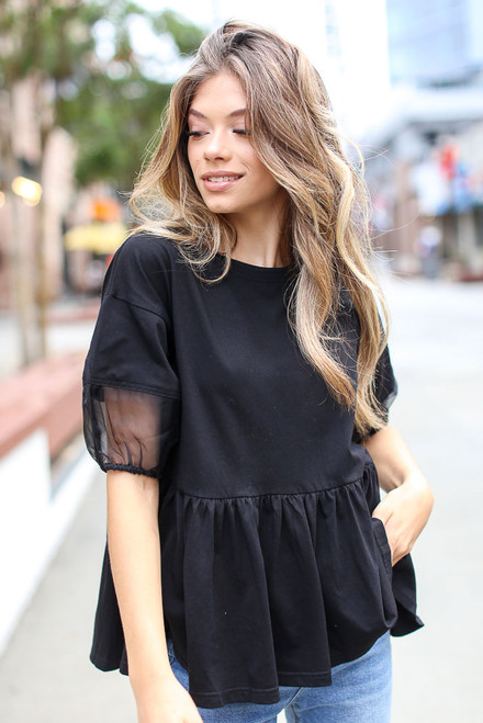 Black - Puff Sleeve Peplum Top