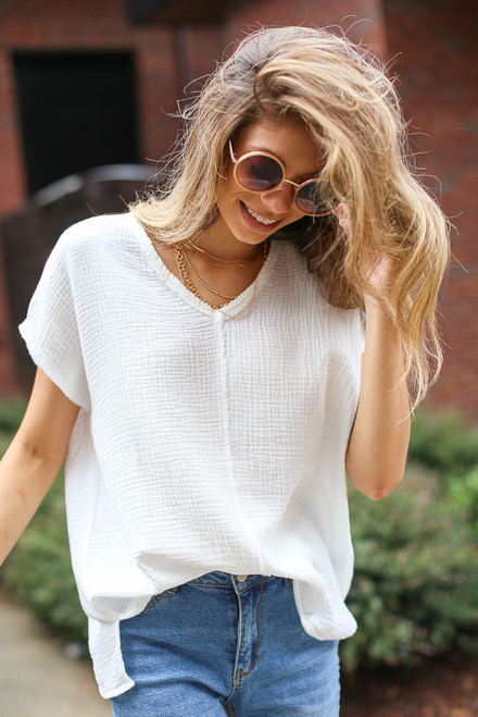 White - Oversized Linen Top