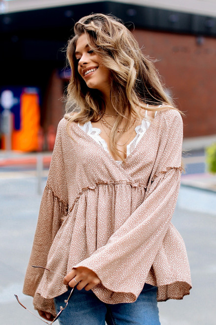 Taupe - Spotted Surplice Blouse from Dress Up