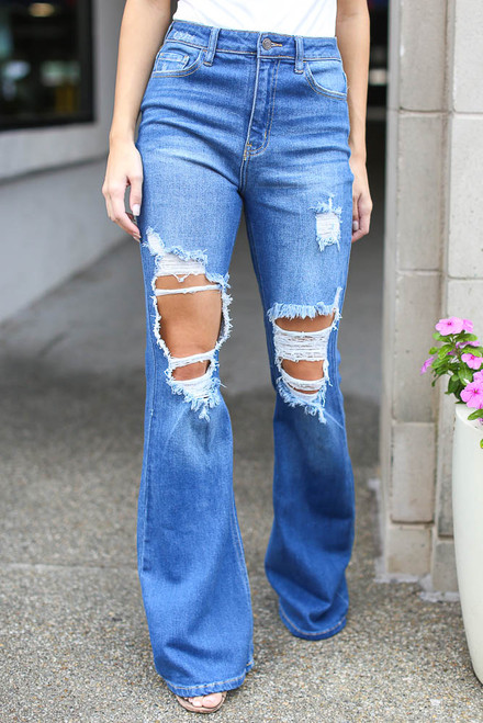 Medium Wash - Distressed Flare Jeans from Dress Up