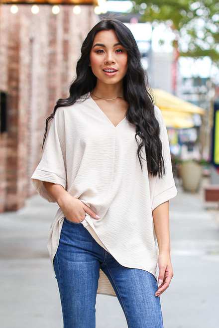 Taupe - Textured Oversized Blouse from Dress Up