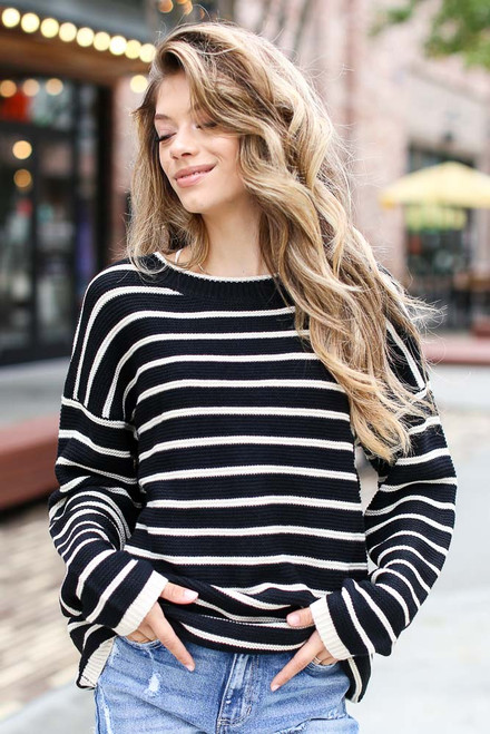 Black - Oversized Striped Sweater