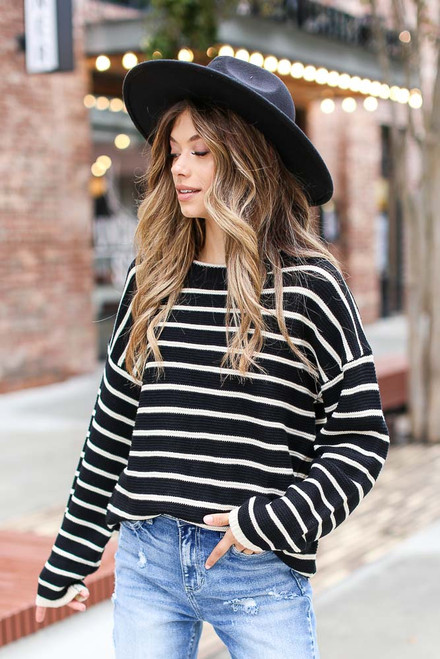 Black - Oversized Striped Sweater from Dress Up