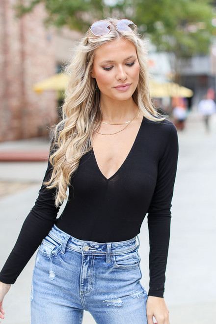 Black - V-Neck Bodysuit