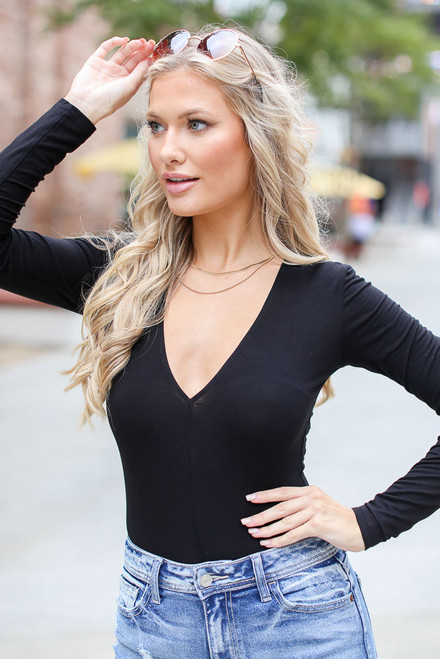 Black - V-Neck Bodysuit from Dress Up