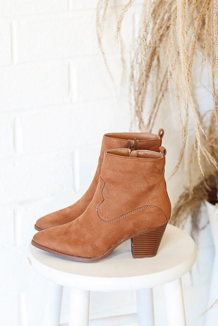 Camel - Pointed Toe Block Heel Booties