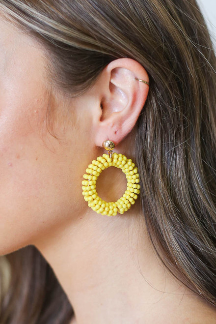 Yellow - Beaded Statement Earrings