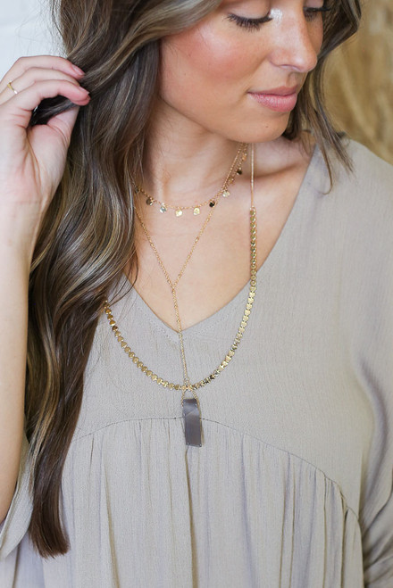 Gold - Layered Stone Charm Necklace