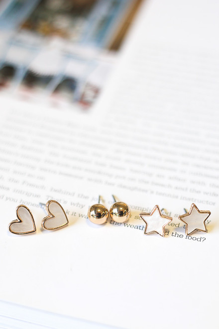 White - Star + Heart Stud Earring Set