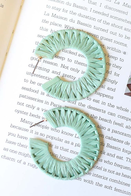 Sage - Close Up of Raffia Hoop Earrings