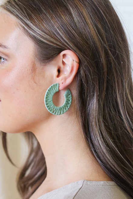 Sage - Raffia Hoop Earrings from Dress Up