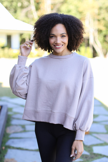 Mocha - Oversized Fleece Pullover