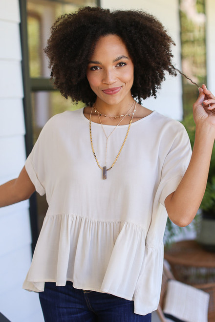 Natural - Oversized Peplum Blouse
